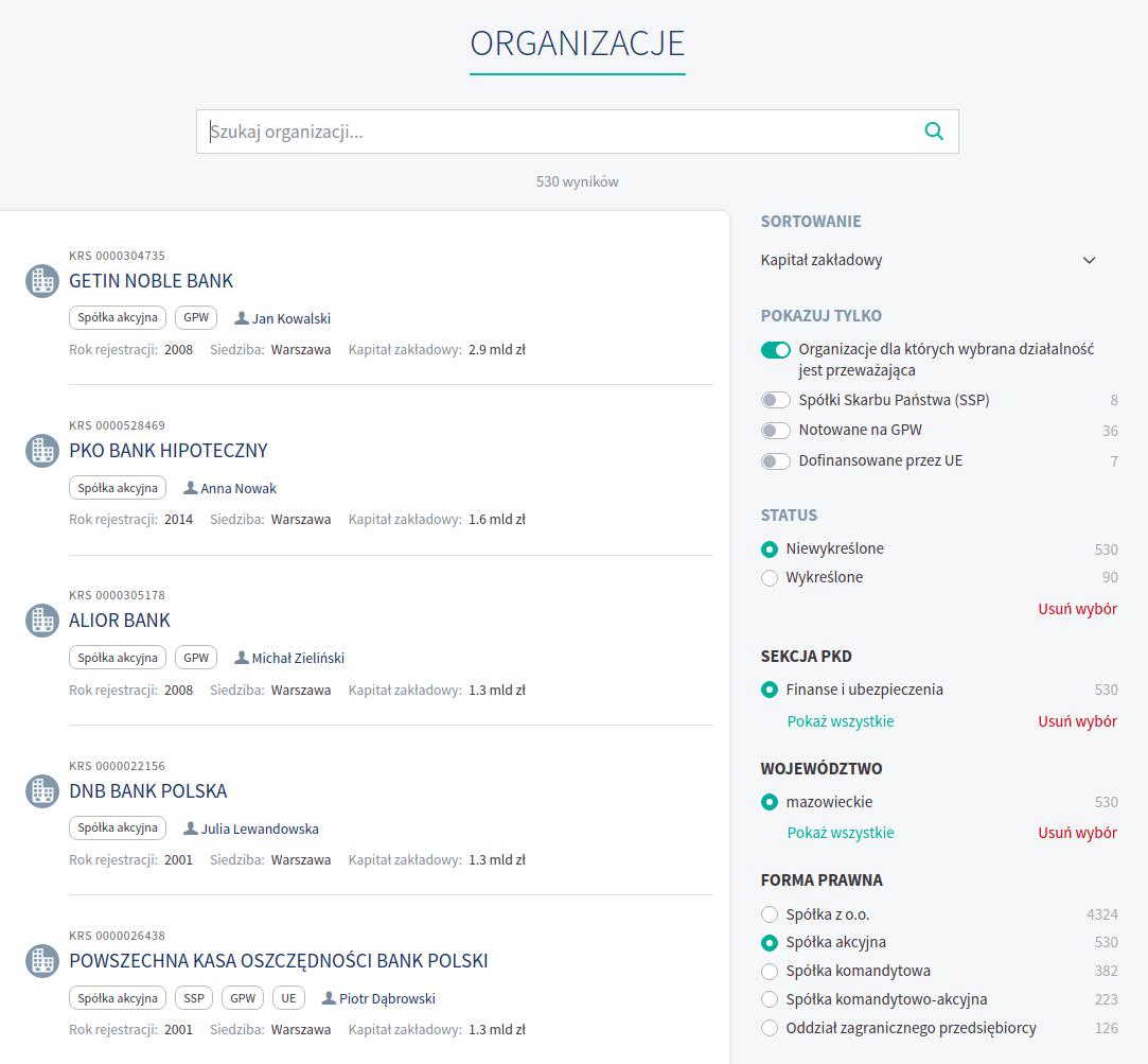 Strona wyszukiwania z m.in. filtrami spółek skarbu państwa, GPW